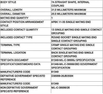 AIRCRAFT FA18H1 EA6B AMPHENOL 038999/26JB35SN NEW ELECTRICAL CONNECTOR KIT +TOOL