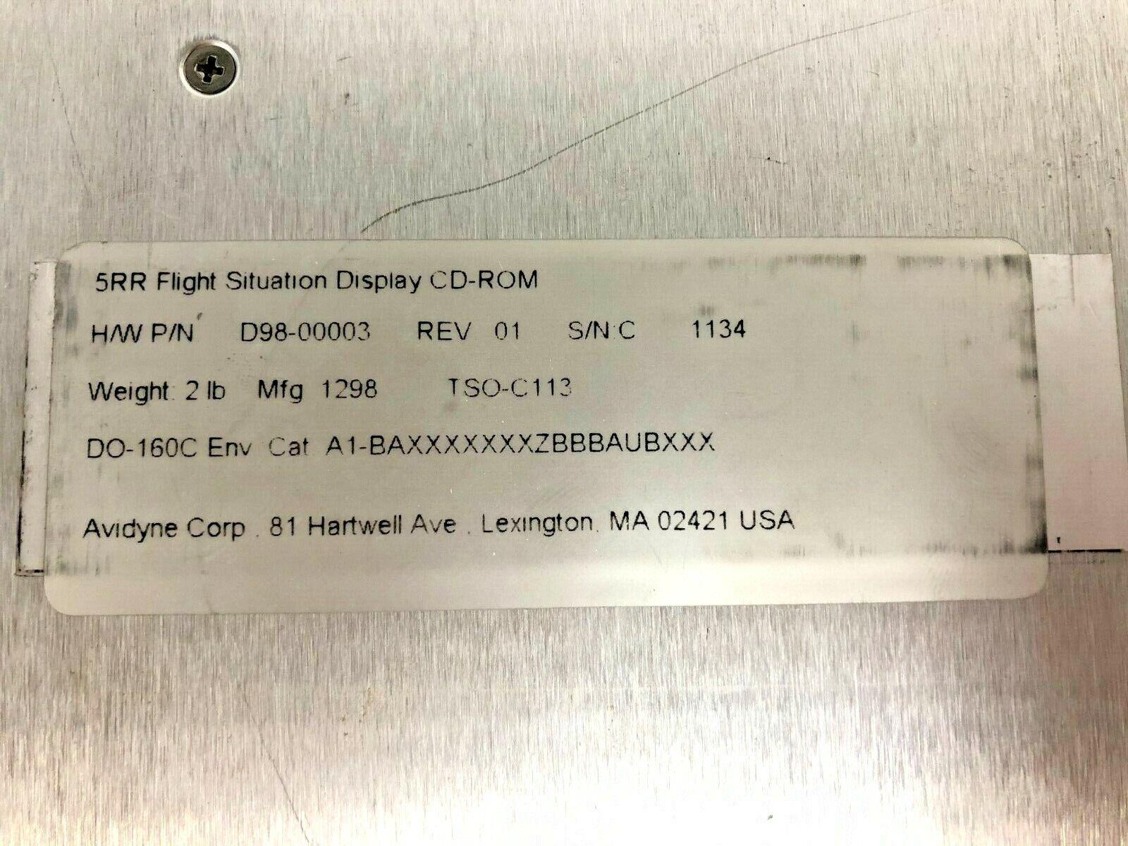 Avidyne 5RR Flight Situation Display CD-ROM P/N 530-0109-08