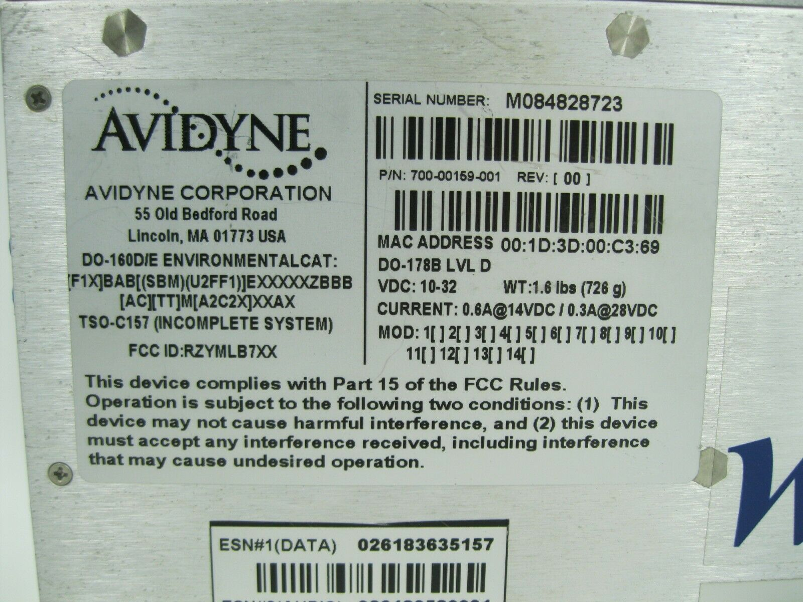 Avidyne WSI In Flight Satellite Weather Receiver 700-00159-001