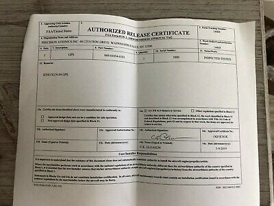 BENDIX/KING KLN 94 COLOR GPS P/N 069-01034-0101 WITH FRESH FAA FORM 8130-3