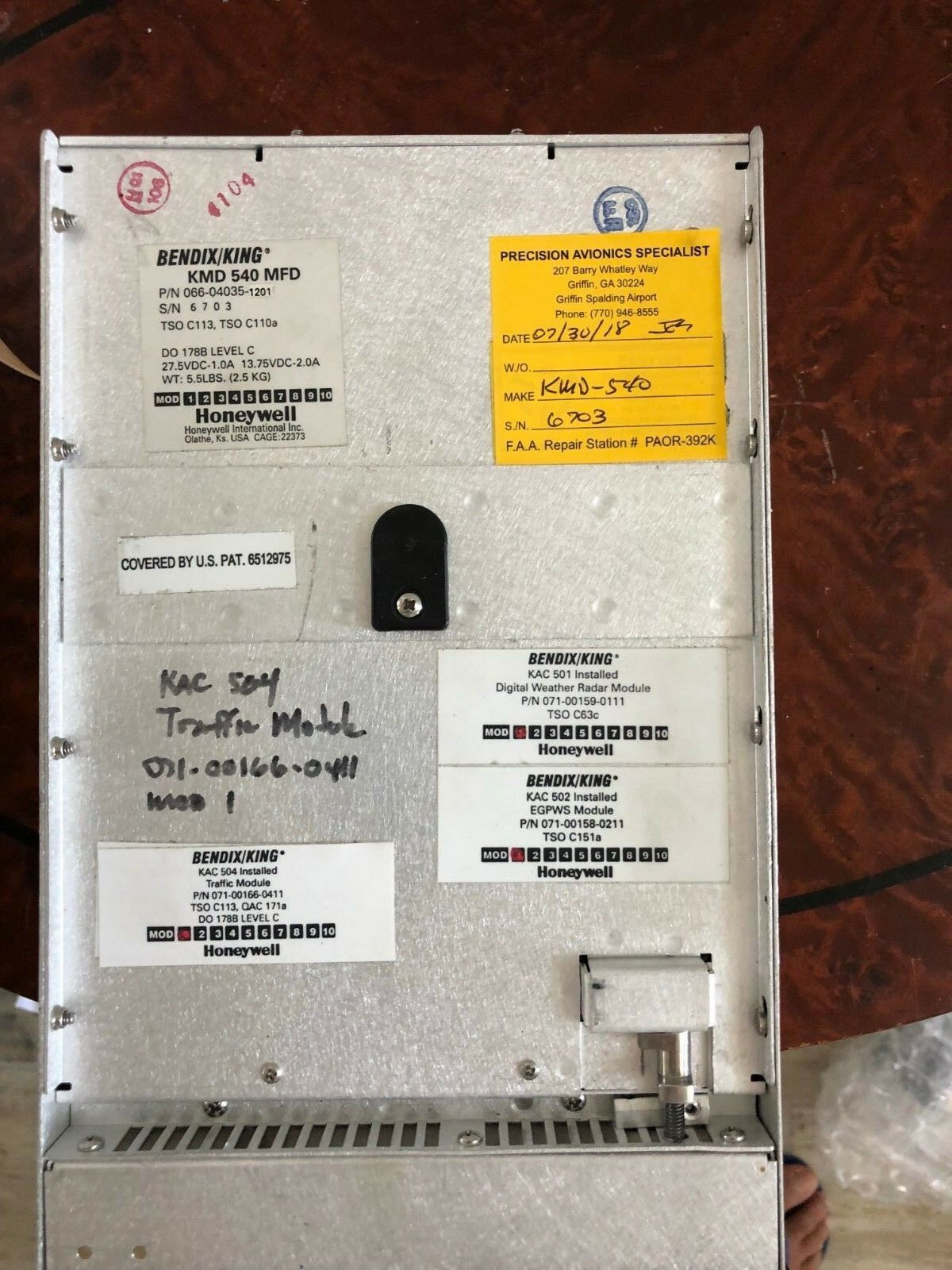 BENDIX/KING KMD-540 P/N 066-04035-0201 WITH KAC 501,502,503,504 MODULE FAA 8130