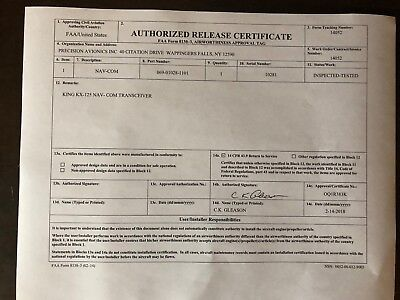 BENDIX/KING KX 125 14 VDC P/N 069-01028-1101 FRESH FAA FORM 8130-3