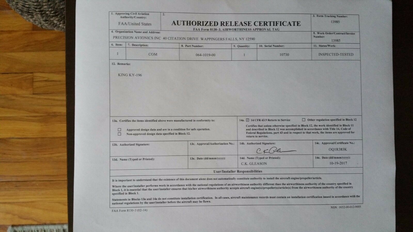 BENDIX/KING KY 196 28 VDC P/N 064-1019-00  WITH  FRESH FAA FORM 8130-3