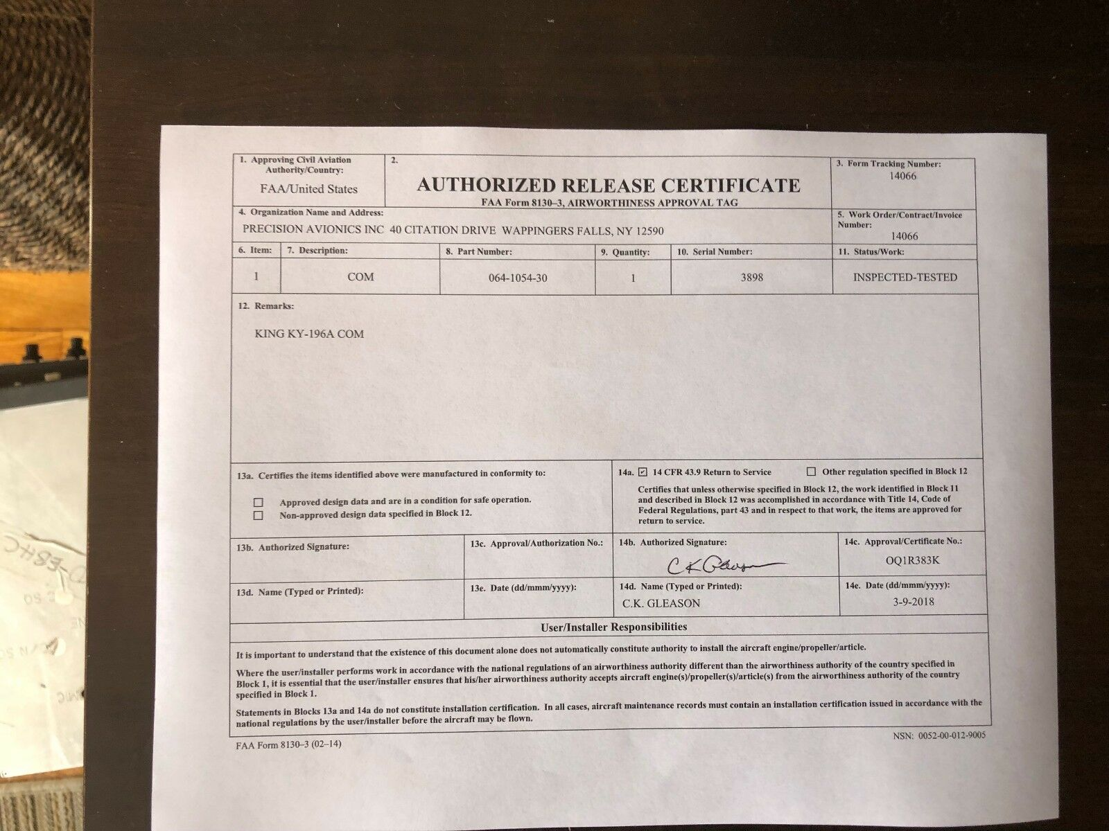 BENDIX/KING KY 196A 28 VDC P/N 064-1054-30 WITH FRESH FAA FORM 8130-3
