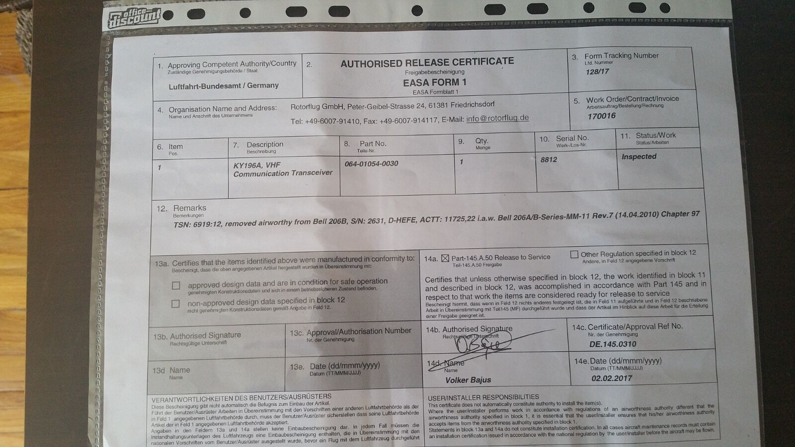 BENDIX/KING KY 196A 28 VDC P/N 064-1054-30 WITH FRESH EASA FORM 1