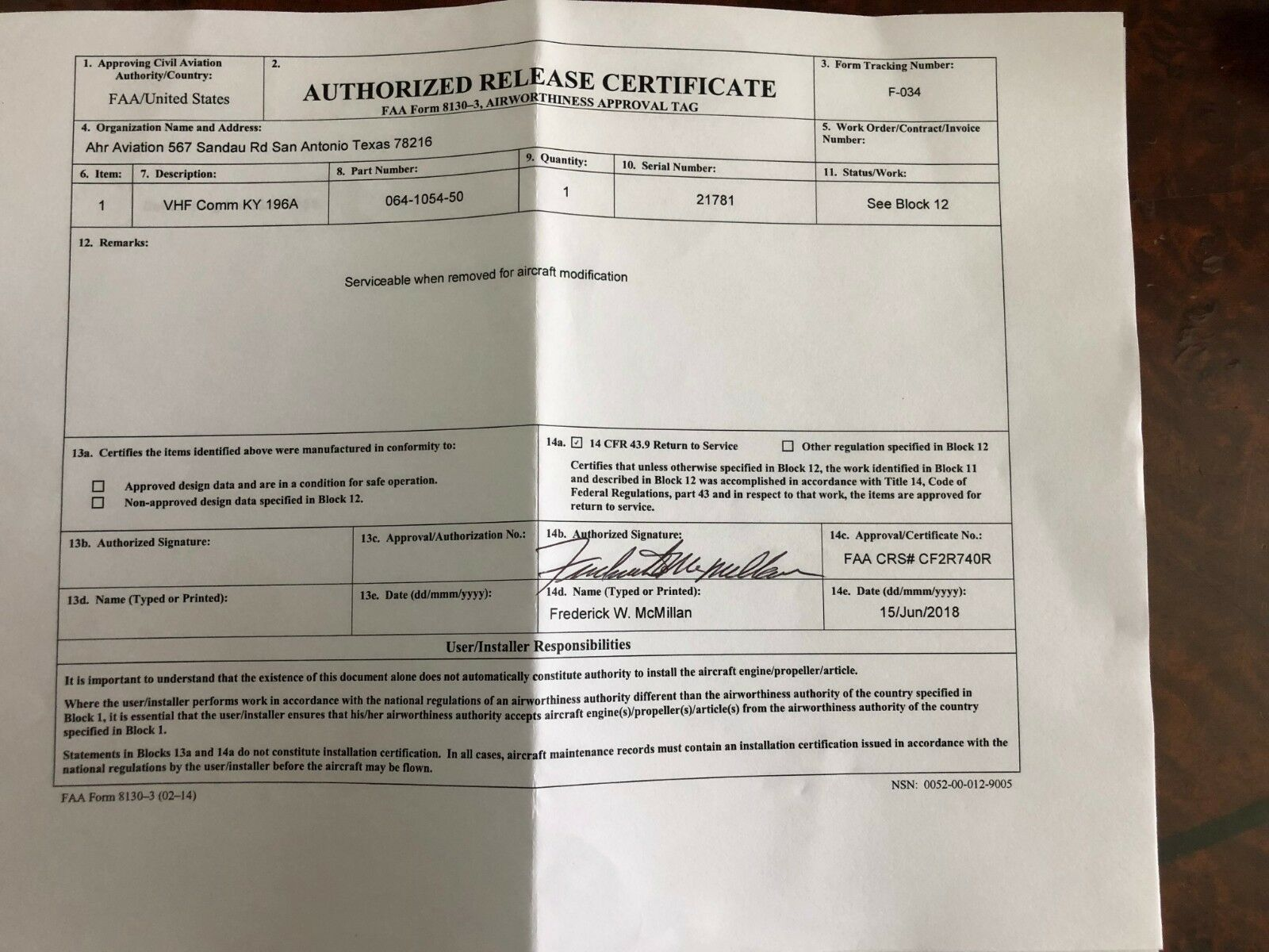 BENDIX/KING KY 196A 28 VDC P/N 064-1054-50 WITH FRESH FAA FORM 8130-3
