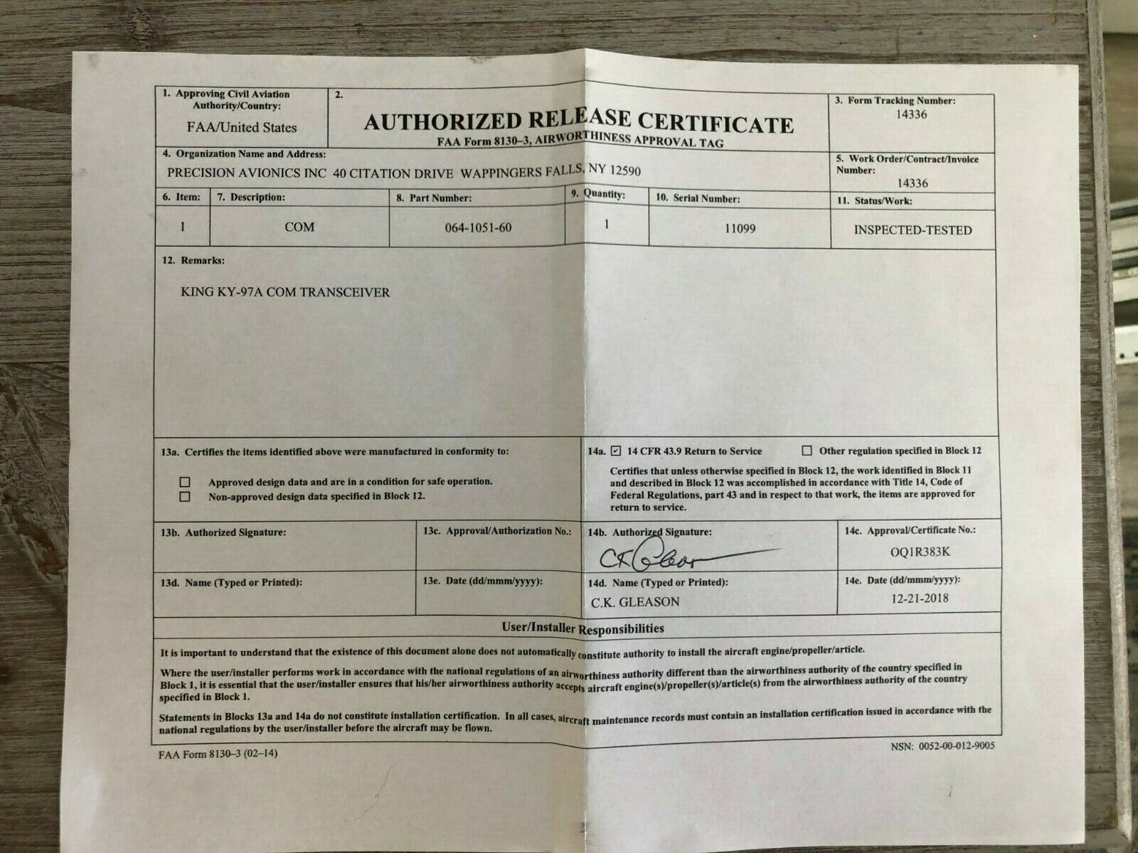 BENDIX/KING KY 97A 14 VDC P/N 064-1051-60 WITH  FRESH FAA FORM 8130-3