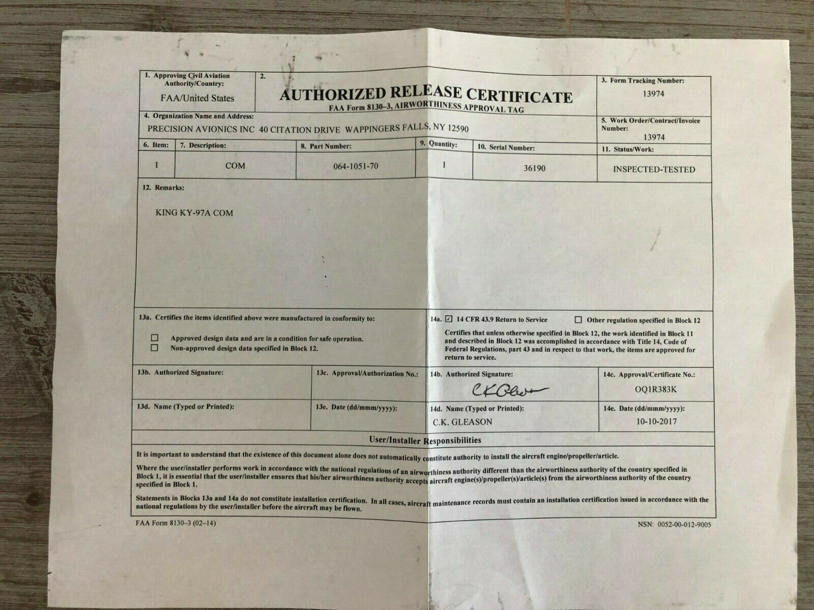 BENDIX/KING KY 97A 14 VDC P/N 064-1051-70 WITH  FRESH FAA FORM 8130-3