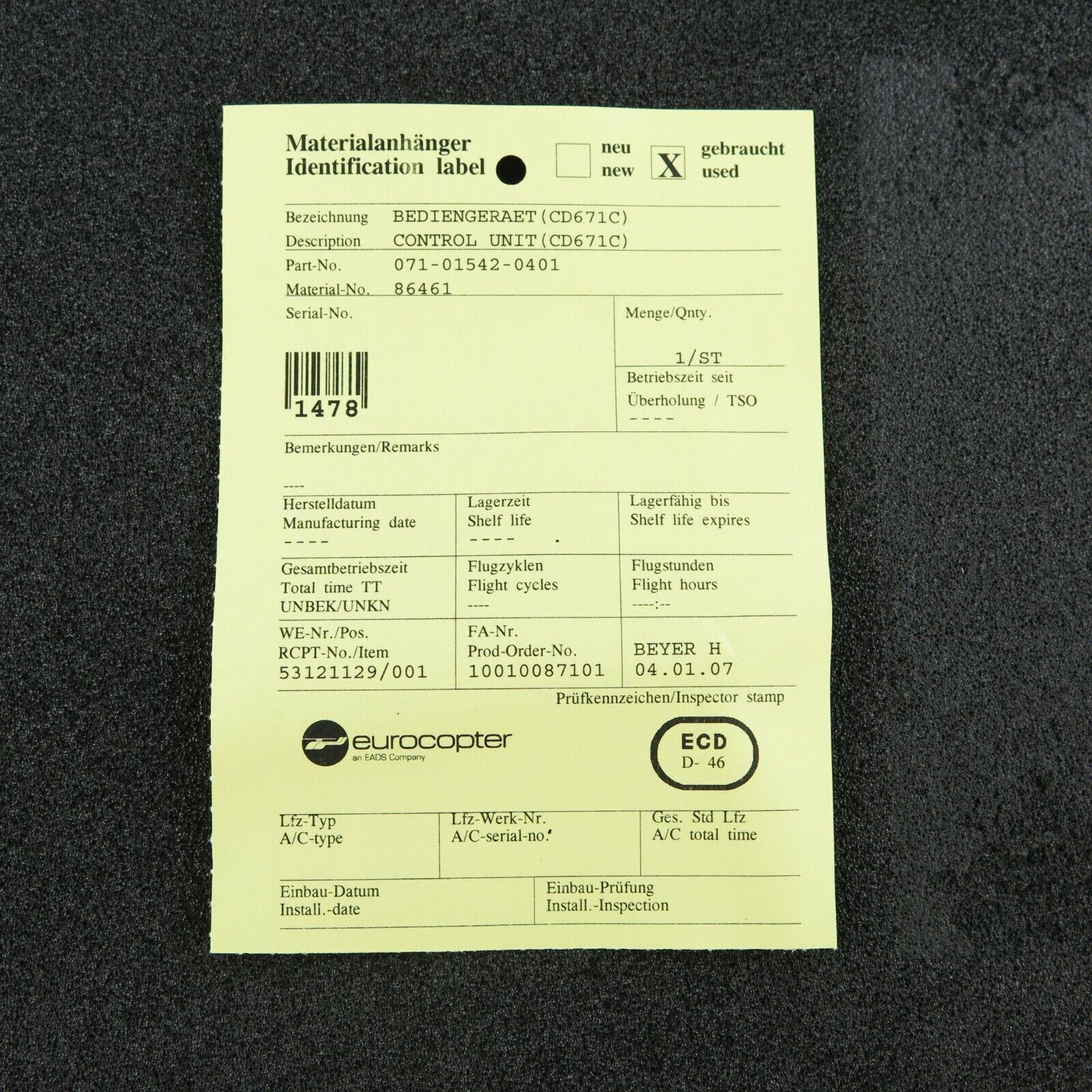 Bendix King CD-671C TCAS Mode S Control P/N 071-01542-0401 Repaired w/ FAA 8130