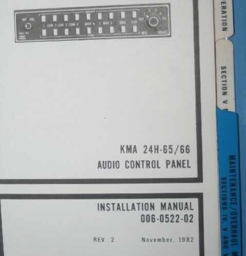 Bendix King KMA-24H-65/66 Audio Panel Install/maintenance/overhaul manual