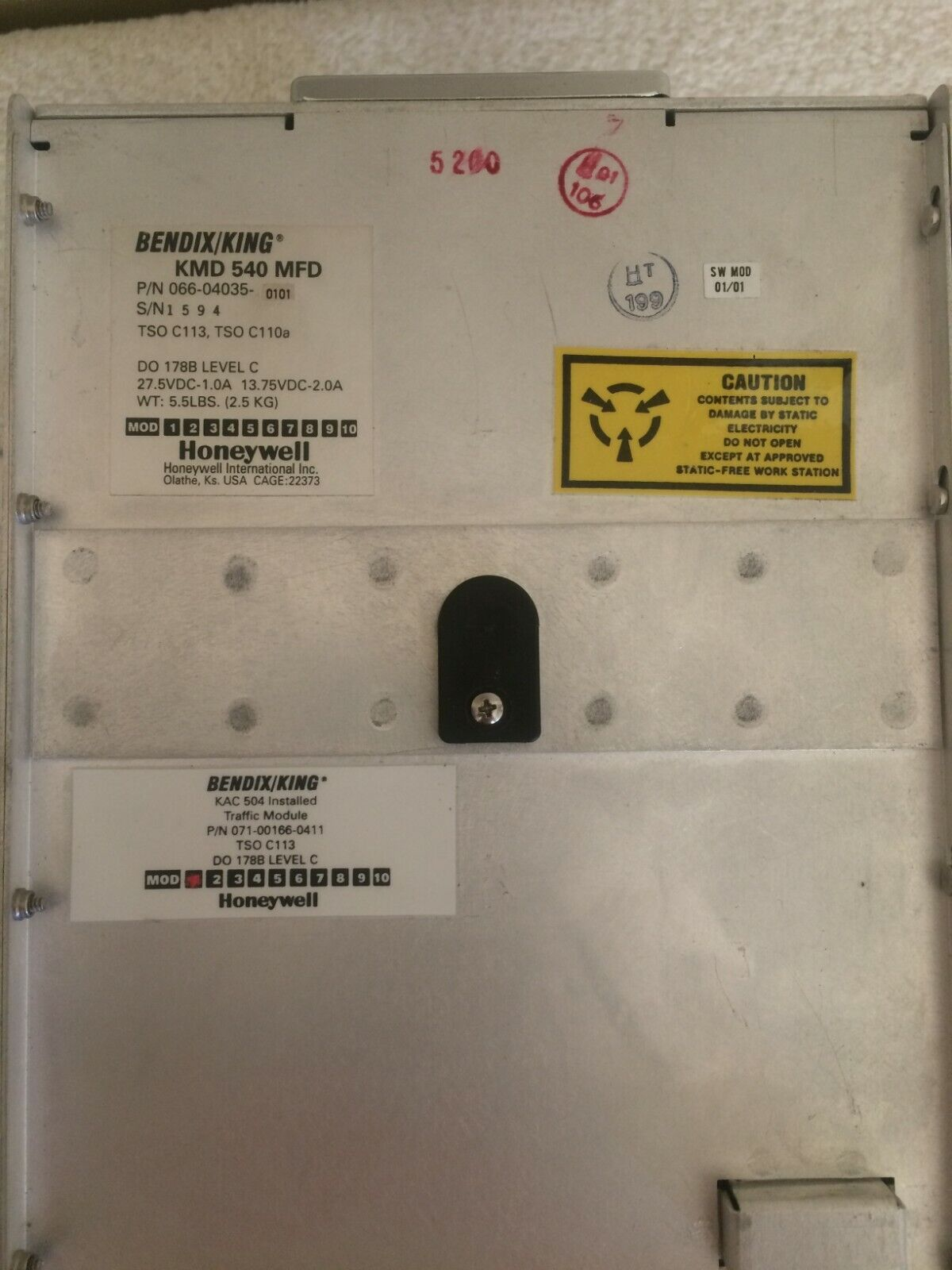 Bendix King KMD 540 MFD Traffic Module Very Low Hours with Tray and Adapter