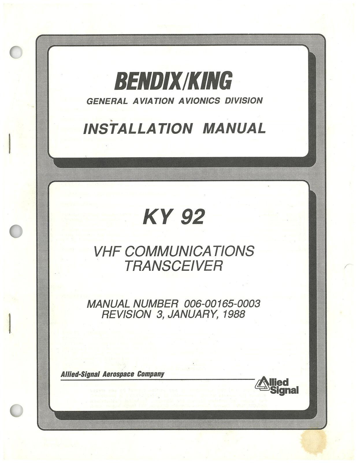 Bendix King KY 92 Installation Manual Rev 3 006-00165-0003