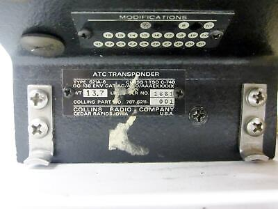 COLLINS 787-6211-001 ATC TRANSPONDER TYPE 621A-6, AIRCRAFT PART -