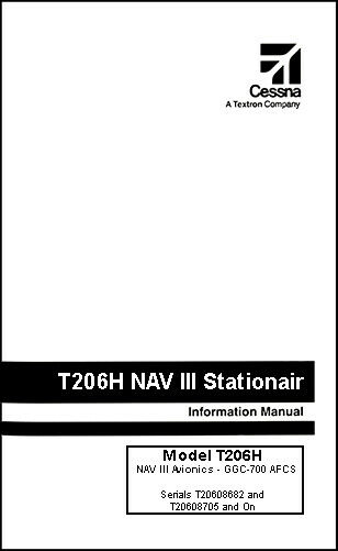 Cessna Turbo Stationair Information Owner's Manual POH T206H G1000 & GFC-700