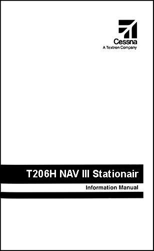 Cessna Turbo Stationair Information Owner's Manual POH T206H G1000 & KAP-140