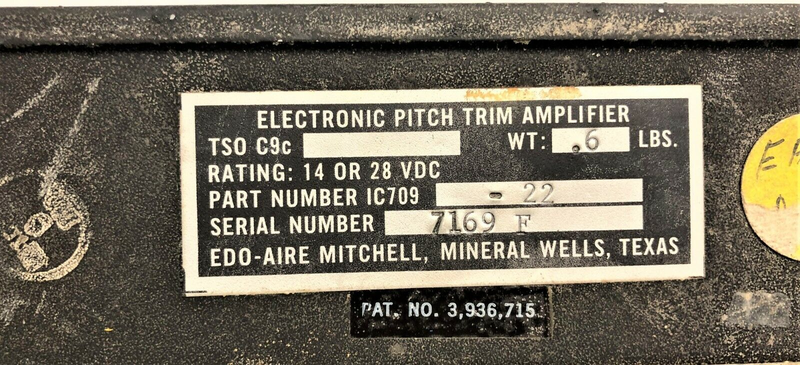 EDO-AIRE MITCHELL ELECTRONIC PITCH TRIM AMPLIFIER P/N IC709-22
