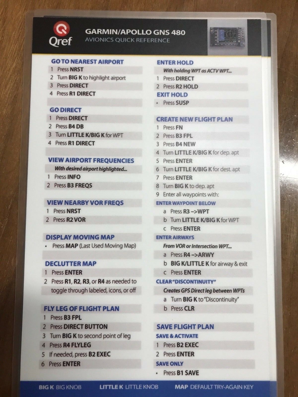 GARMIN APOLLO GNS  480 QUICK REFERENCE CHECKLIST CARD by Qref p/n GA-480-2