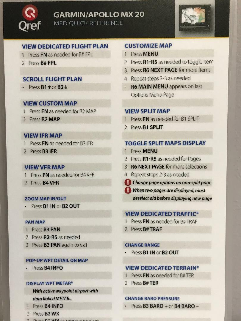 GARMIN / APOLLO MX 20 QUICK REFERENCE CHECKLIST CARD by Qref p/n GA-MX20-2