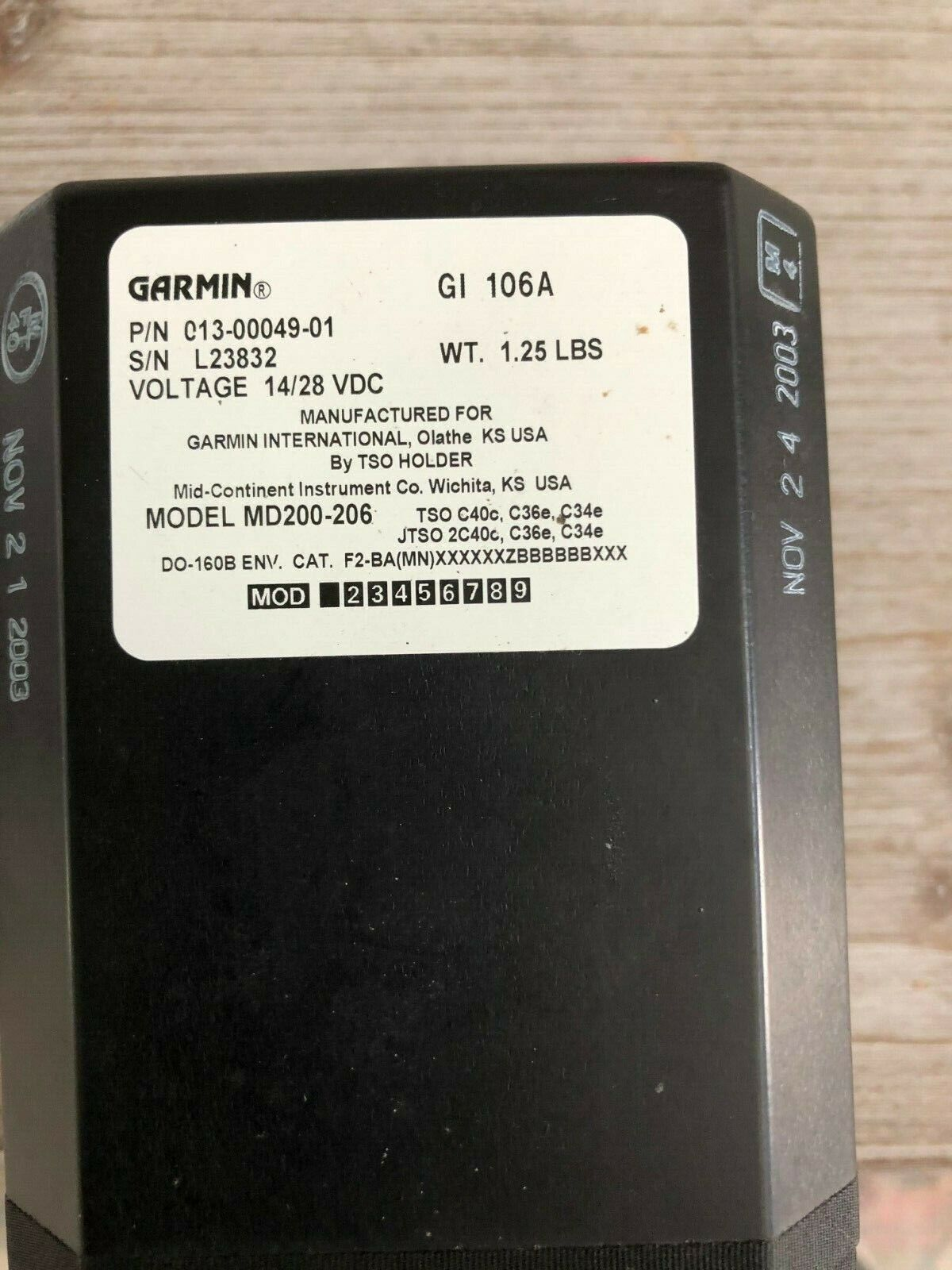 GARMIN GI-106A VOR/LOC & G/S CDI INDICATOR  P/N 013-00049-01 WITH FAA FORM 8130