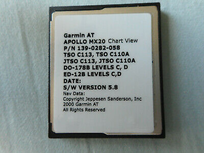 GARMIN MX20 DATA CARD 512MB & CHARTVIEW, 5.8 SOFTWARE THE LAST SOFTWARE RELEASED