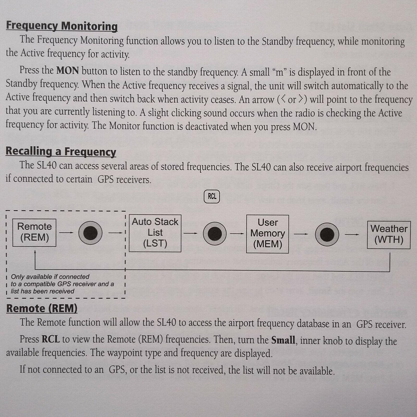 Garmin SL40 VHF Com Pilot's Guide