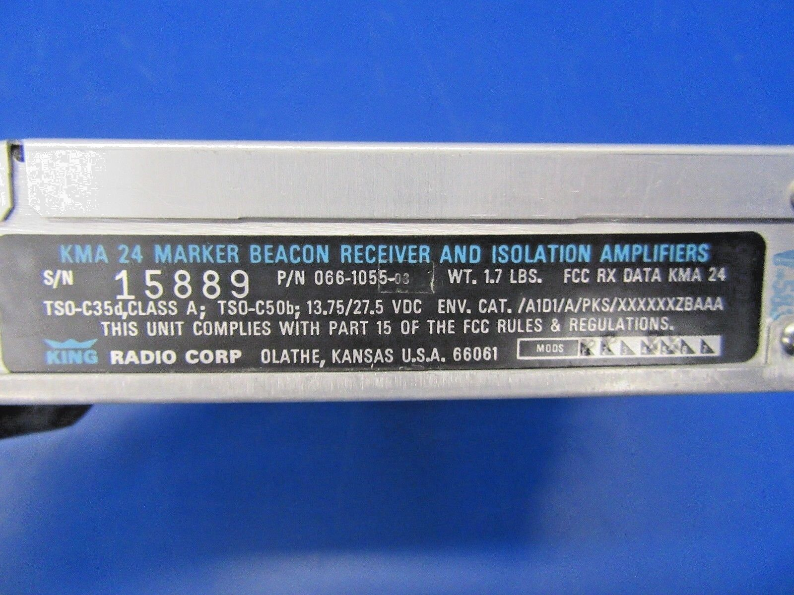 King KMA-24 Audio Panel & Marker Beacon P/N 066-1055-03 (0518-103)