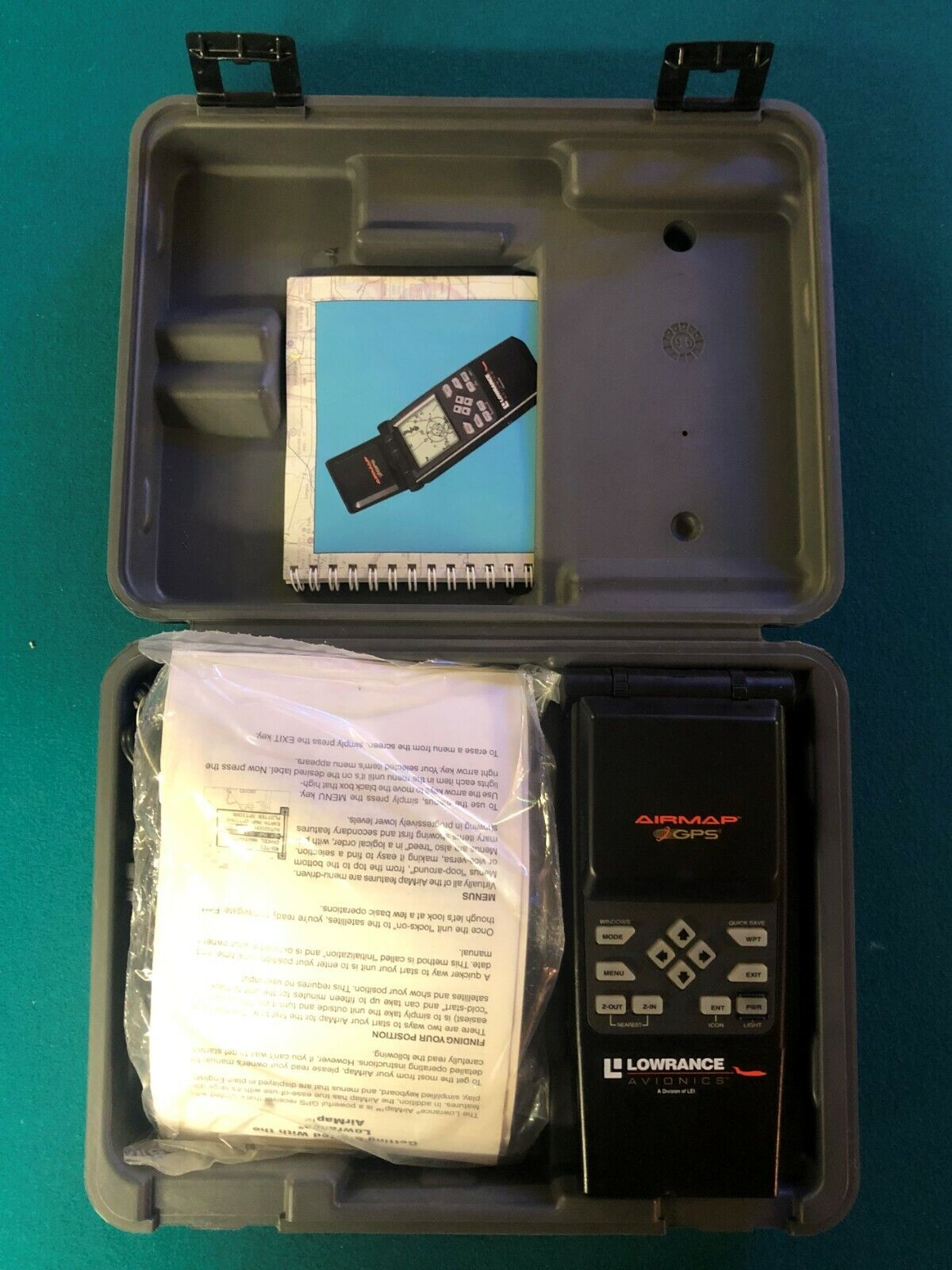 Lowrance Avionics Airmap GPS, Manual, Quick-Clamp GPS Mount, and Case, New