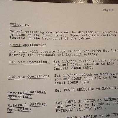 MEC Michel MEC-100C Nav Com Test Set Operation Manual