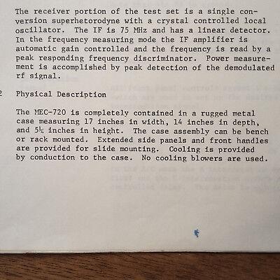 MEC Michel MEC-720A Transponder Test Set Operation Manual