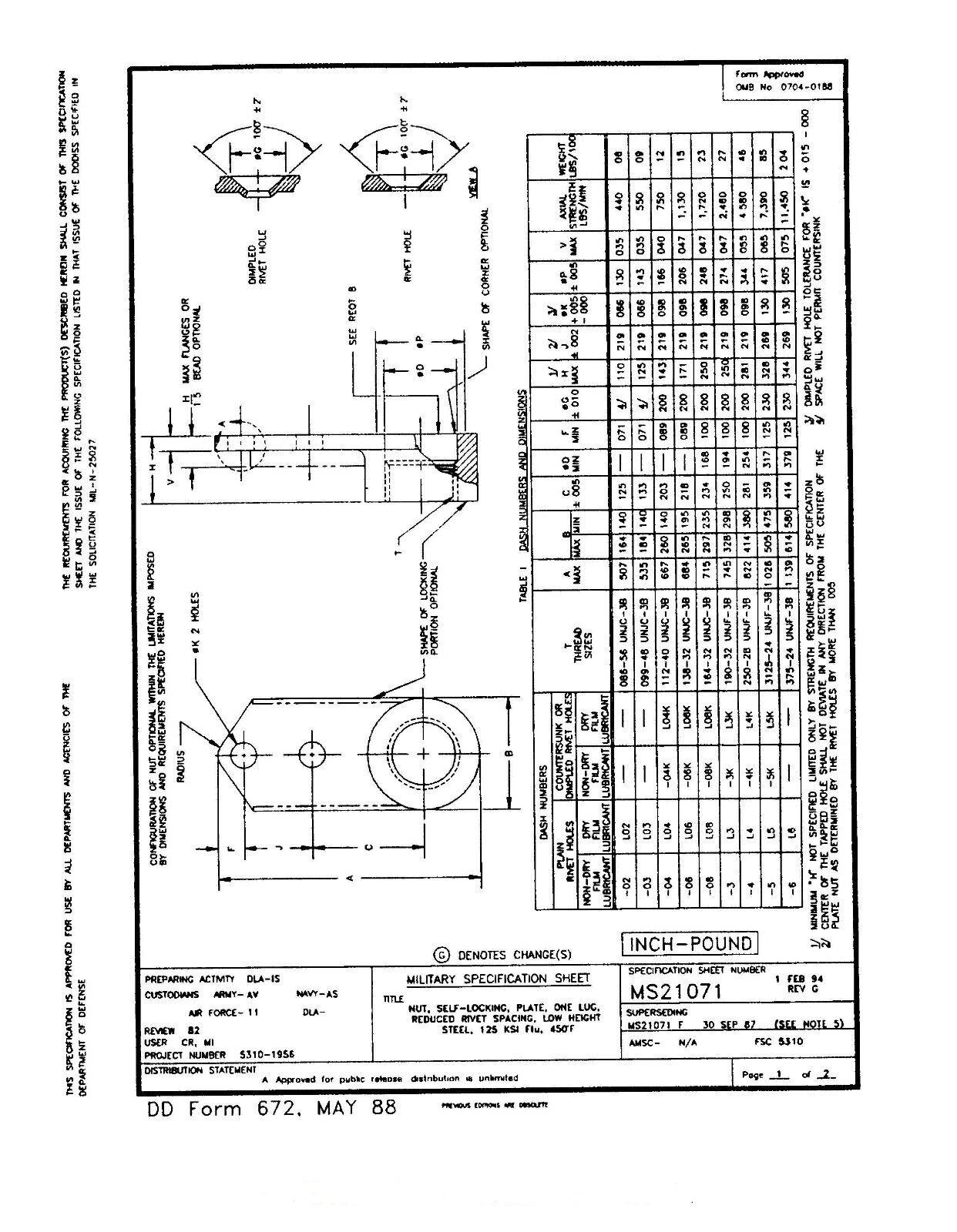 MS21071-04 NAS696X04L NUT 1 LUG REDUCED RIVET  STEEL CAD PLATE  SIZE 4-40 25/PK