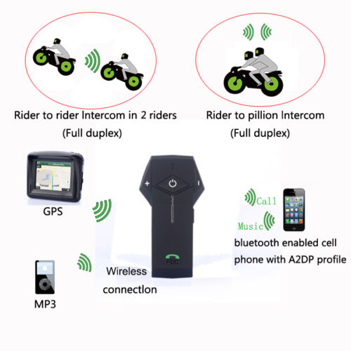 Motorcycle Intercom Bluetooth Communication 1km DSP Headset Mic Full Face Helmet