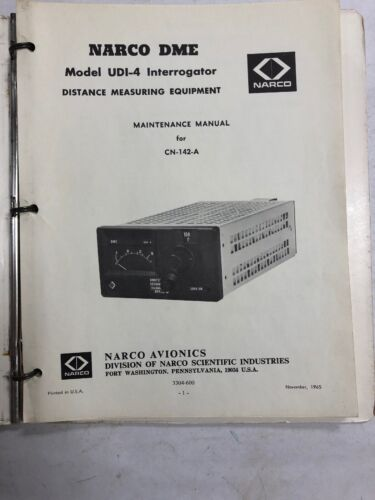NARCO DME UDI-4 Interrogator Maintenance Manual 1965 Oriiginal