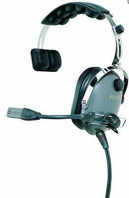 NIB PilotUSA PA-1110 Aviation PNR Single Sided Headset w/Adjustable Temple