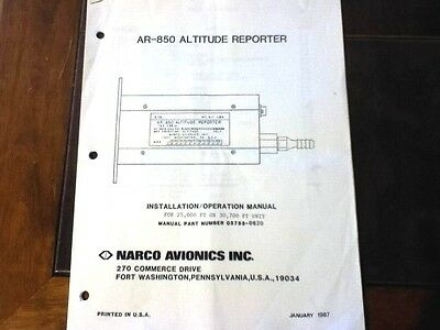Narco AR 850 encoder Install manual