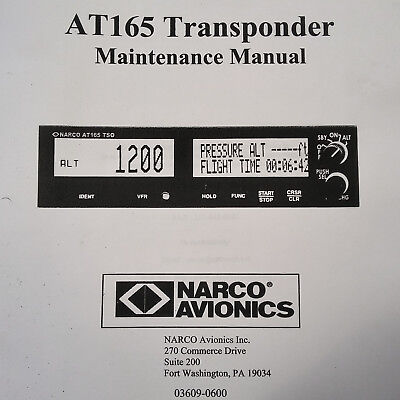 Narco AT-165 Transponder Maintenance Manual