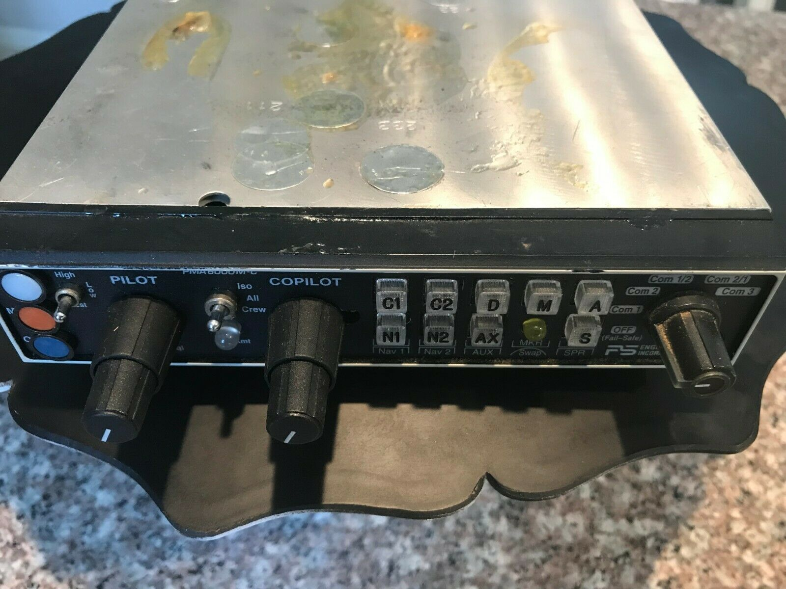 PS ENGINEERING PMA 6000M-C AUDIO-MARKER-INTERCOM PANEL WITH TRAY MOUNT,