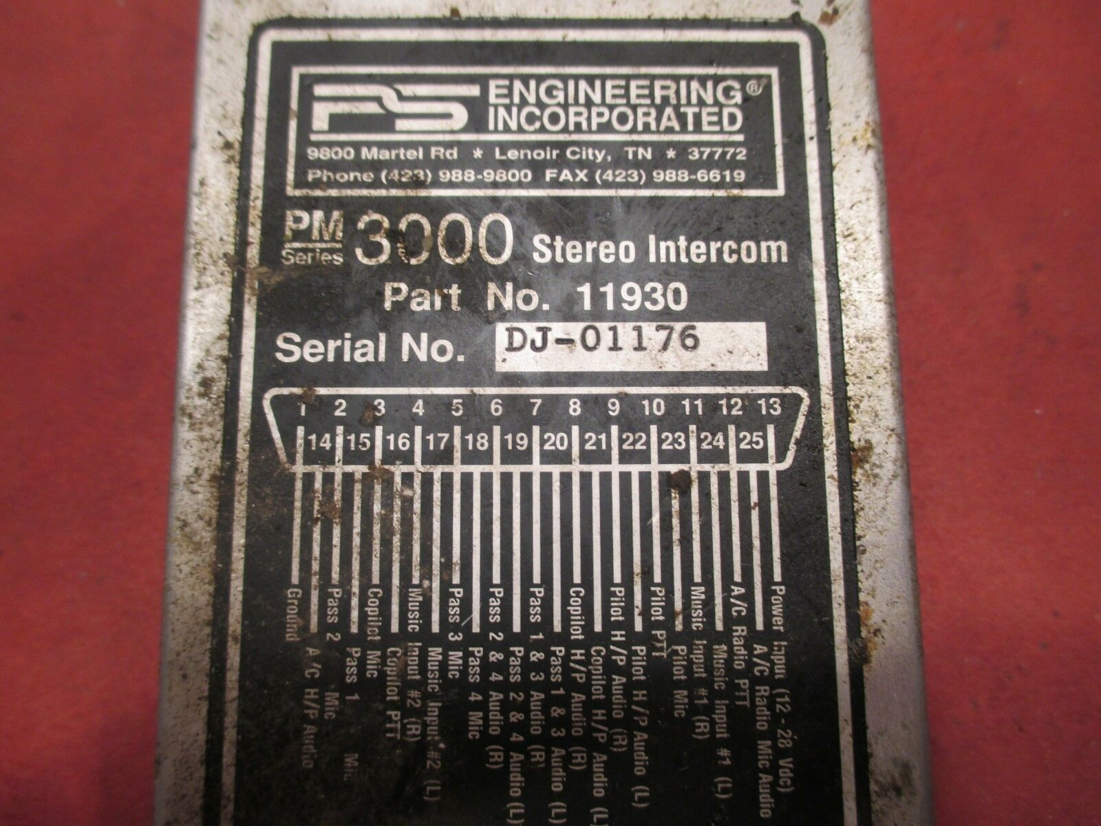 PS Engineering Inc. PM3000, PM1000II Stereo Intercom PN 11930