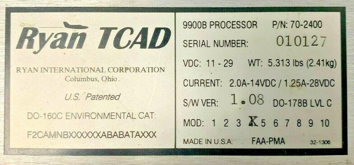 RYAN TCAD 9900B COLLISION AVOIDANCE PROCESSOR PN: 70-2400
