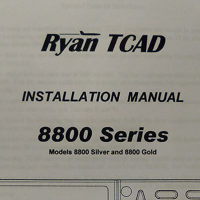 Ryan TCAD 8800 Silver & 8800 Gold install manual