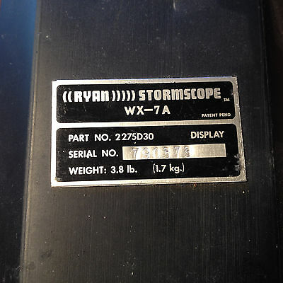 Ryan WX-7A Stormscope Display,    pn 2275D30.     ,  sn 790373.