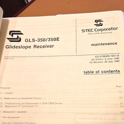 S-TEC Stec GLS-350 and GLS-350E Glideslope Service Manual.
