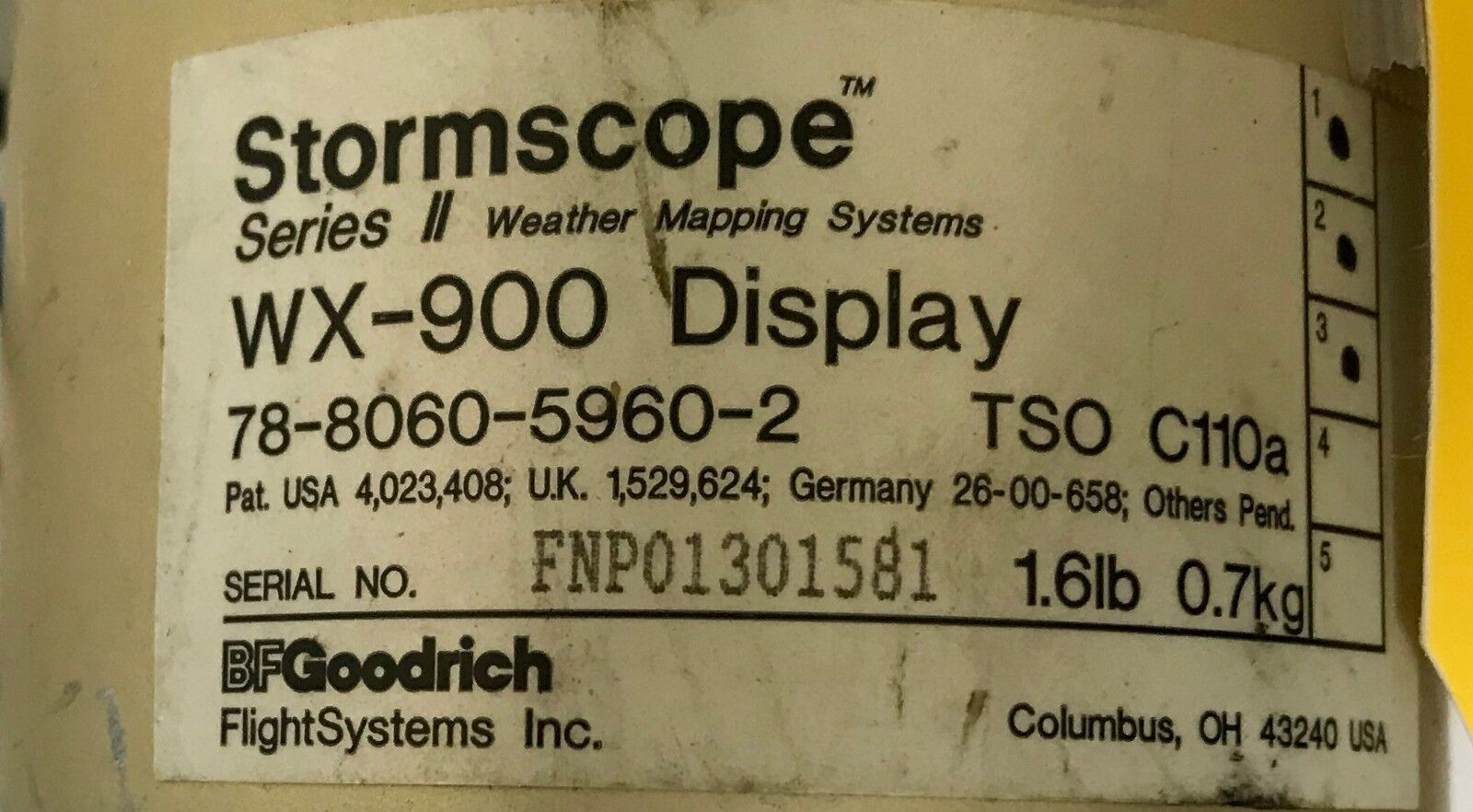 Stormscope Indicator WX900 78-8060-5960-2 w/ January 2018 SV 8130