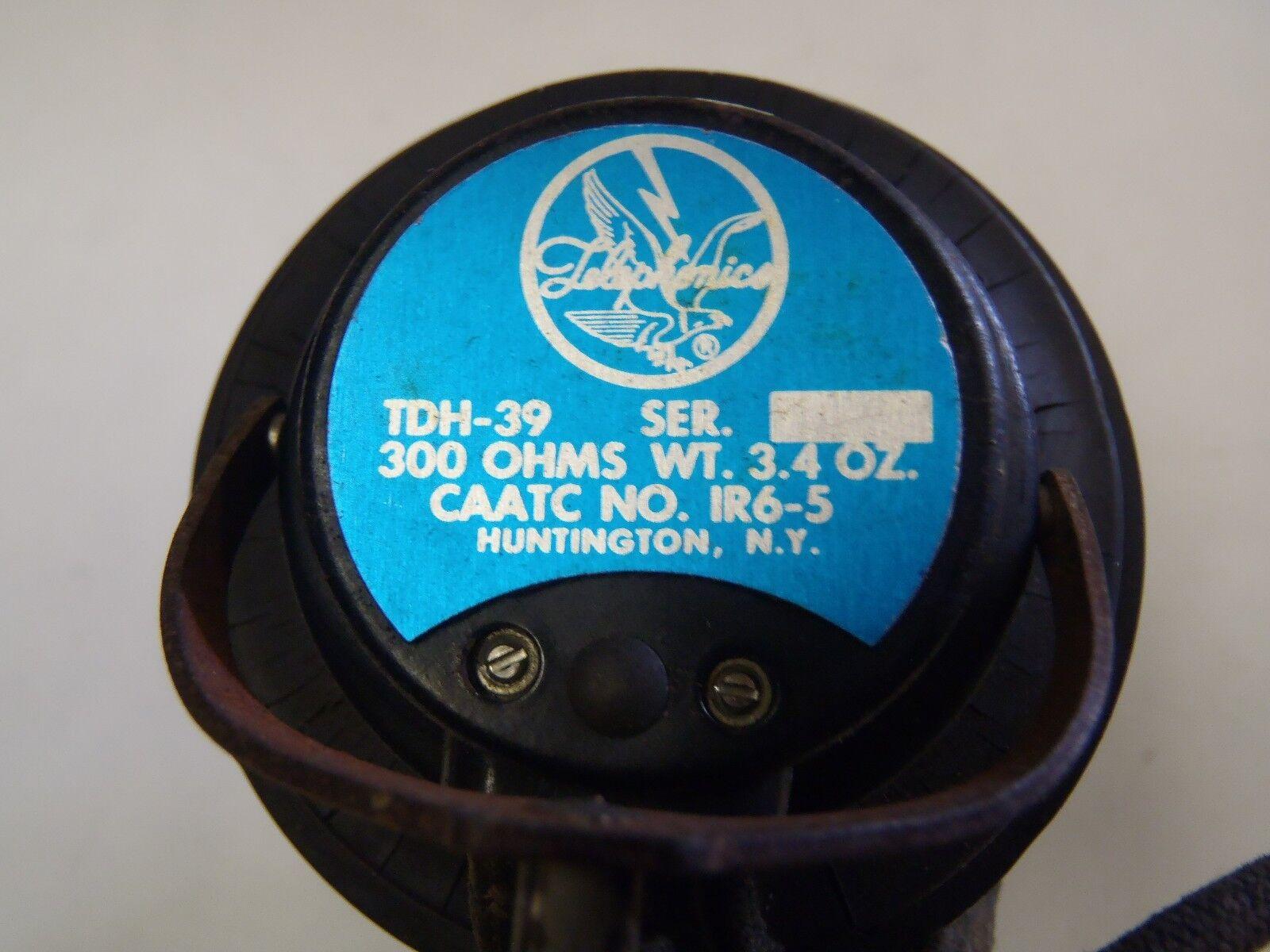 VINTAGE TELEPHONICS TDH-39 AIRCREW HEADSET 300 OHMS CAATC NO IR6-5 RARE NO S/N