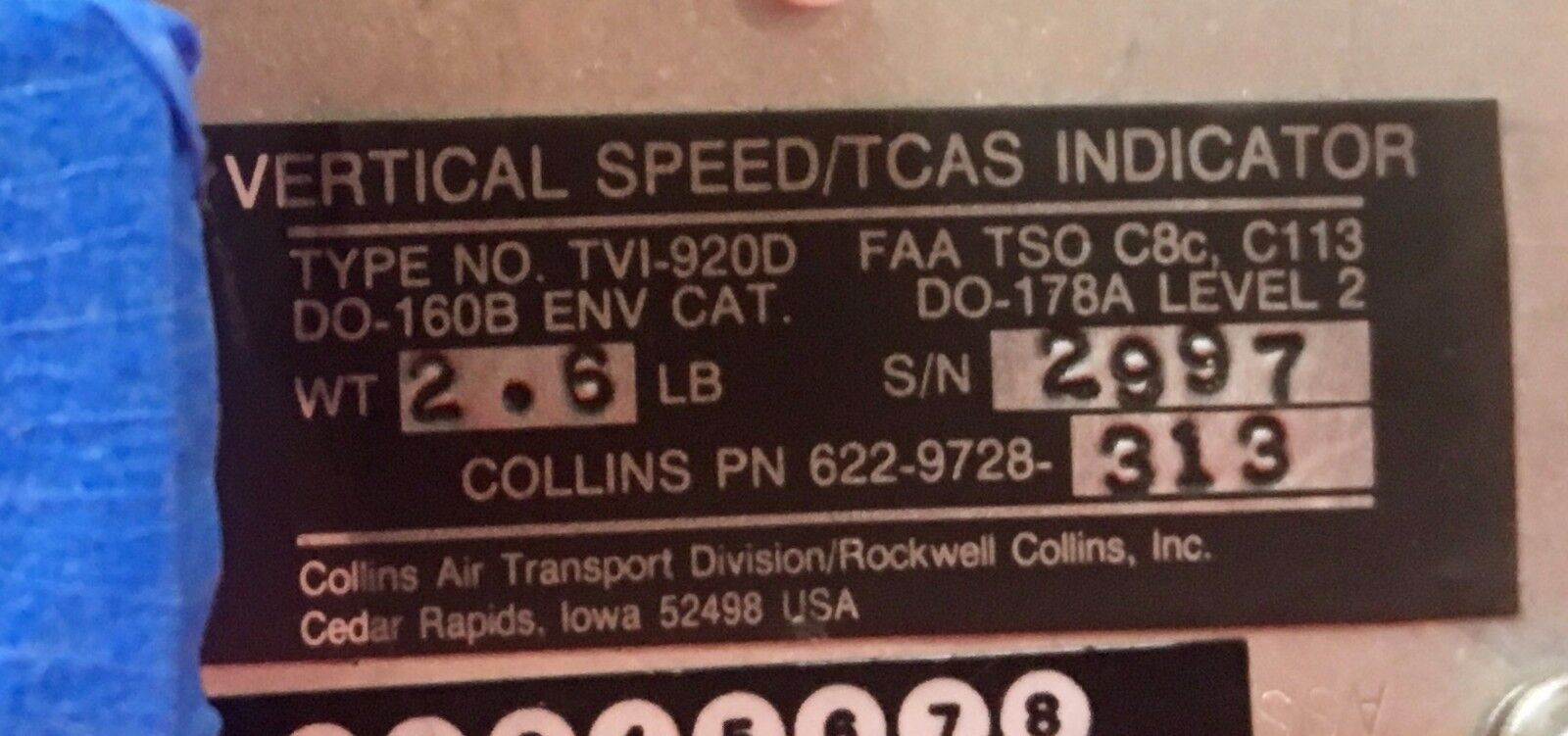 Vertical Speed/TCAS Indicator TVI920D 622-9728-313 As Removed