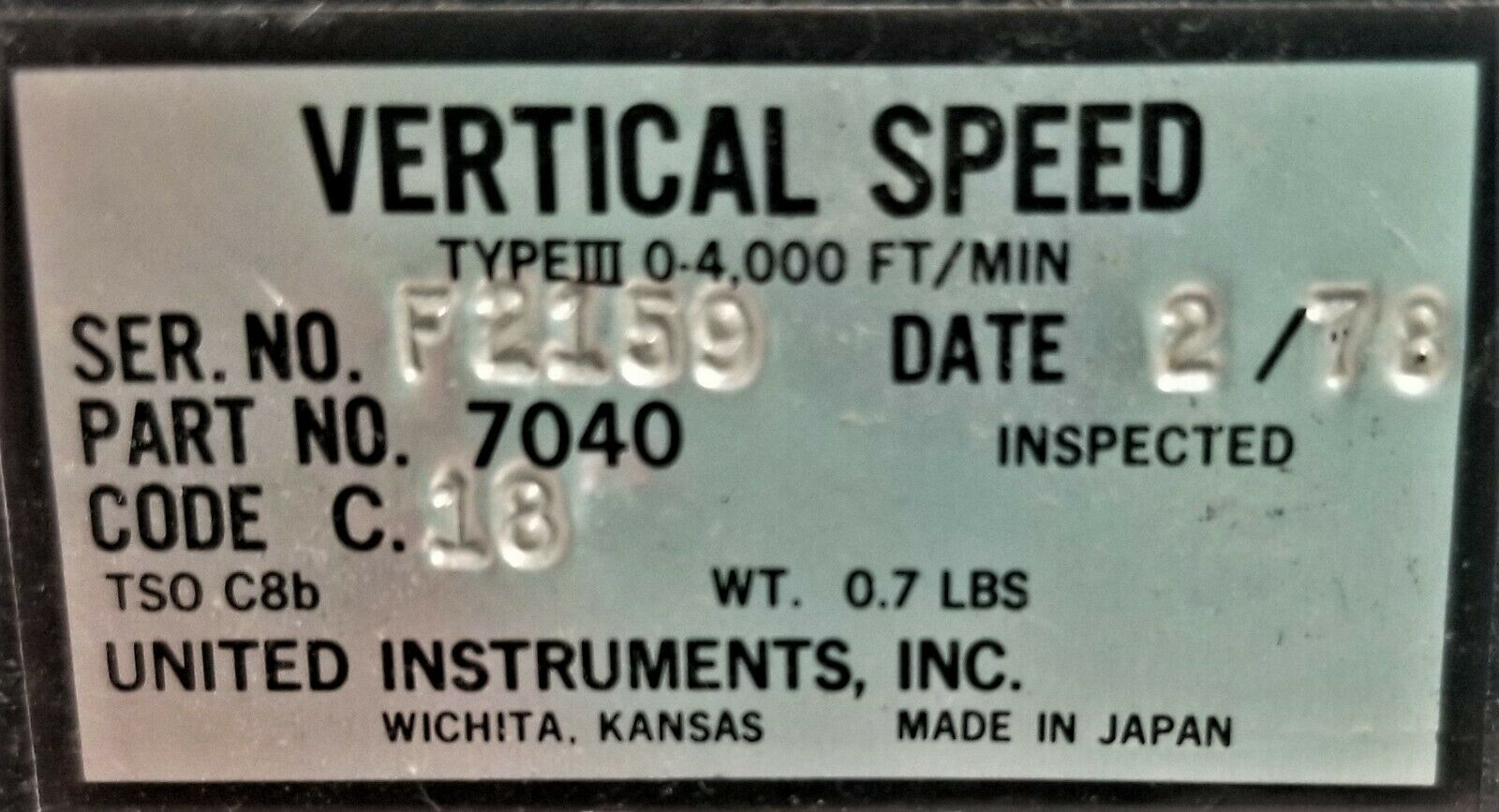 7040 VERTICAL SPEED INDICATOR