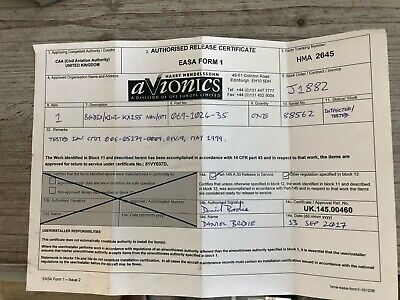 BENDIX/KING KX 155 28 VDC  WITH GLIDESLOPE P/N 069-1024-35 WITH  EASA FORM 1