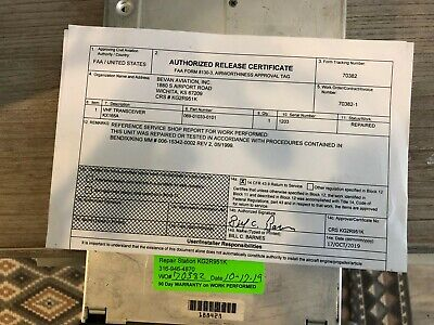 BENDIX/KING KX 165A 28 VDC P/N 069-01033-0101 WITH GLIDESLOPE WITH FAA FORM 8130