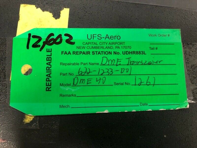 COLLINS DME 40 TRANSCEIVER P/N 622-1233-001 FAA REP TAG & 8130 # 12602