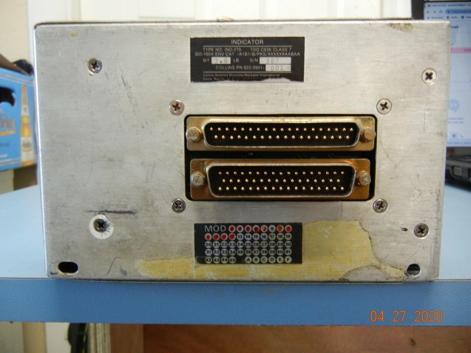 Collins Radar Indicator IND-270 P/N 622-5941-001