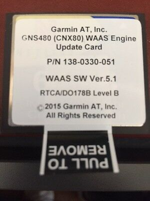 Garmin GNS480 CNX80 Latest Available Software  ADSB Position Source Approved